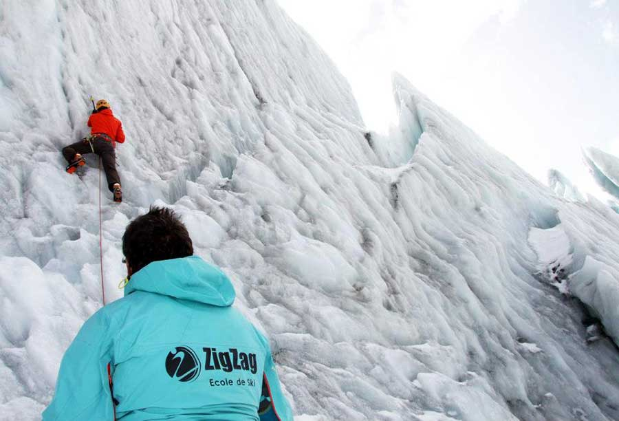 Ice climbing with ZigZag Ski School Samoens